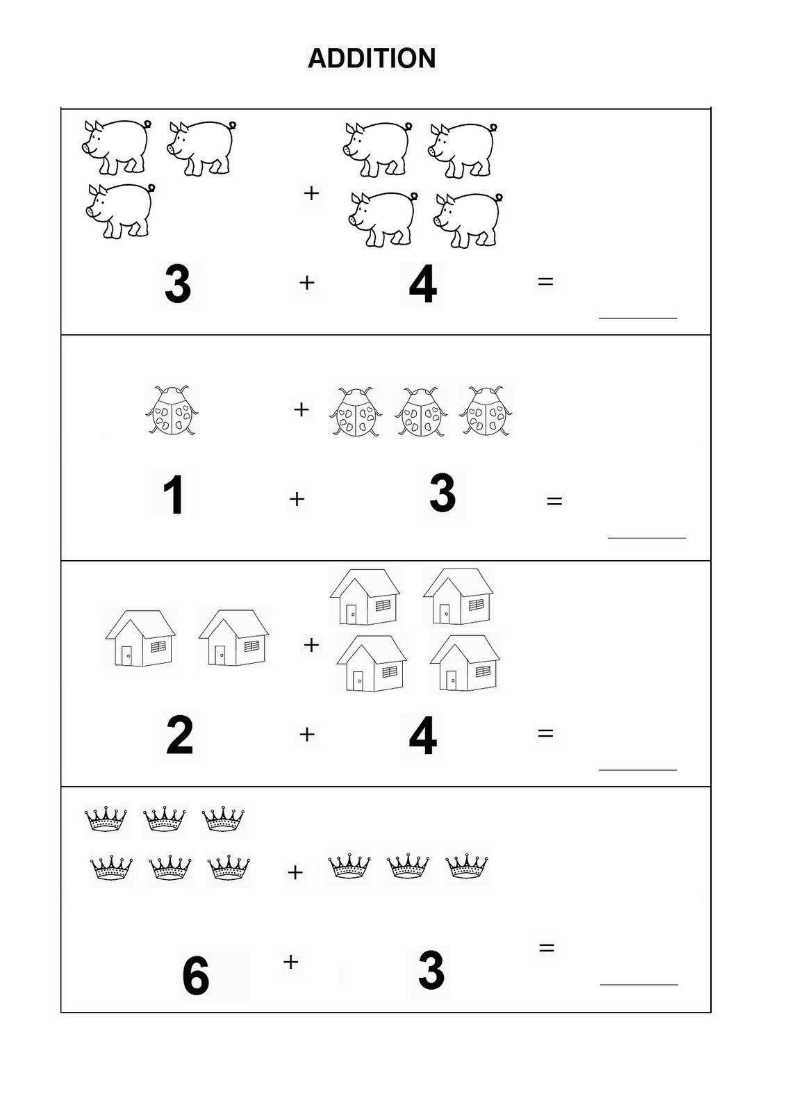Kindergarten Math Worksheets Addition