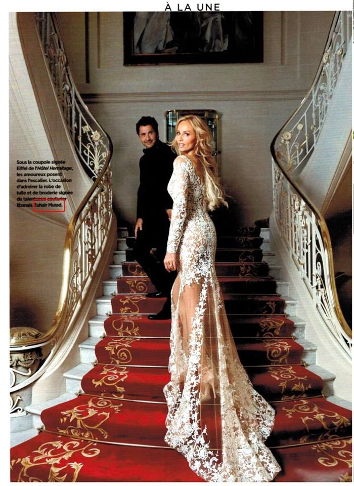 Adriana Karembeu featured in Gala magazine in an exclusive photo shoot wearing her custom nude with white floral embroidery ZUHAIR MURAD COUTURE wedding dress