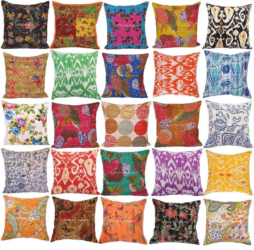 Indian Patchwork Cotton Pillow Case Cover Handmade Designer Cushion Cover Throw
