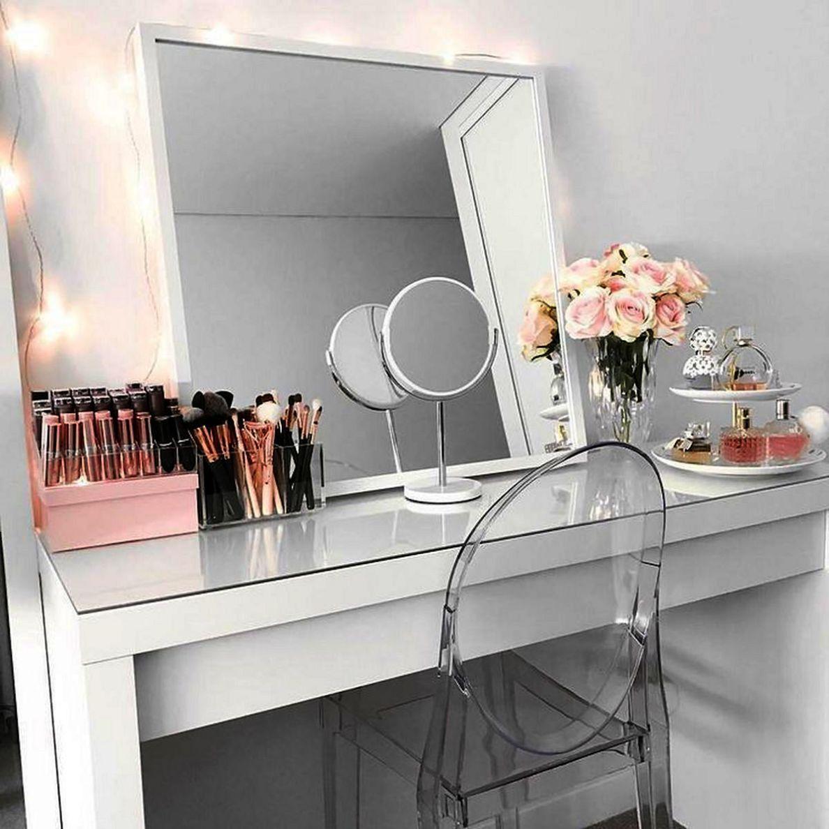 Mirrotek Over The Door Beauty Armoire And Makeup Organizer Malm Dressing Table Ikea Makeup Vanity Ikea Hacks Makeup Vanity