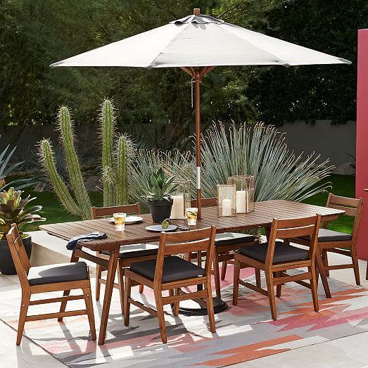 Mid Century Expandable Dining Set Table 6 Chairs Auburn West Elm Outdoor Decor Mid Century Outdoor Furniture Outdoor Dining Set
