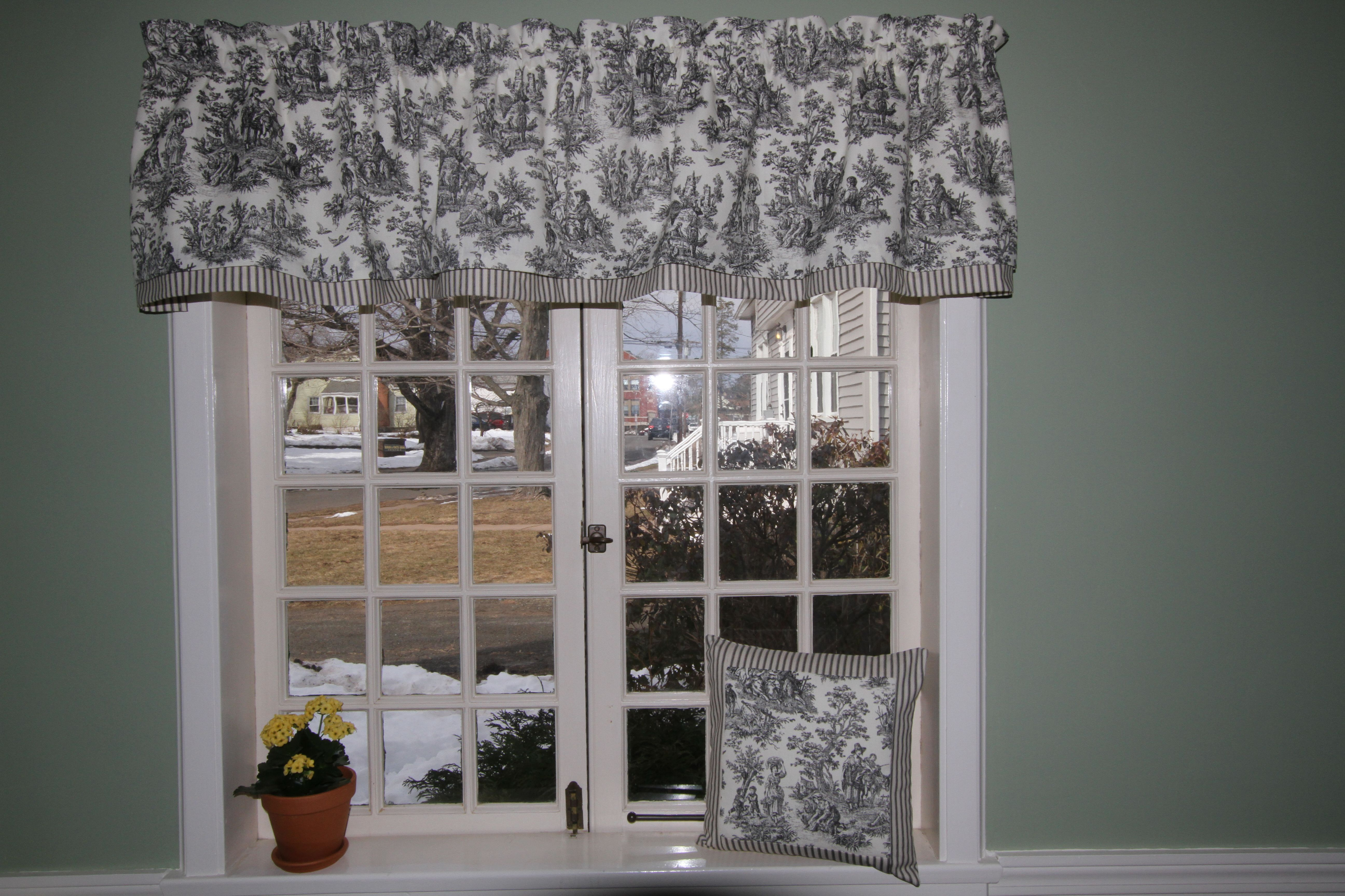 Black  White Toile Waverly valance As seen in The Country