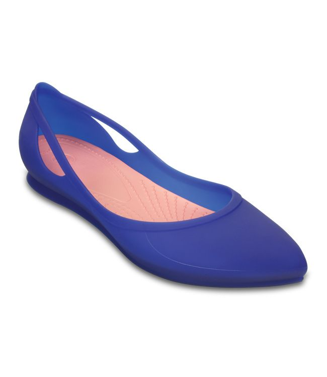 Crocs - 女 - 女士芮歐平底鞋 - 蔚藍色/西瓜紅色 - Yahoo!奇摩購物中心