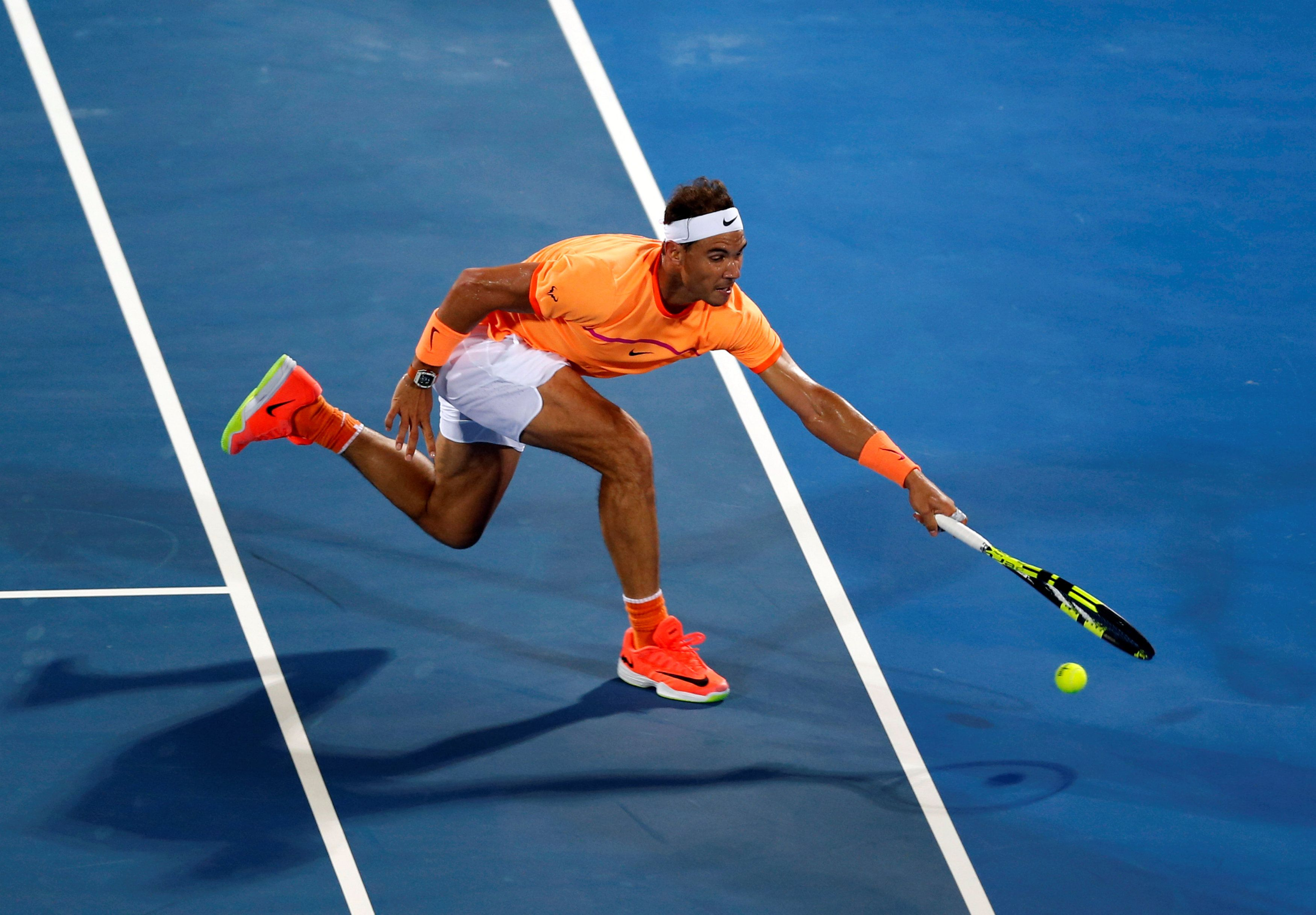 Rafa in action during his men's singles match against Tomas Berdych Abu Dhabi Getty Rafa Nadal