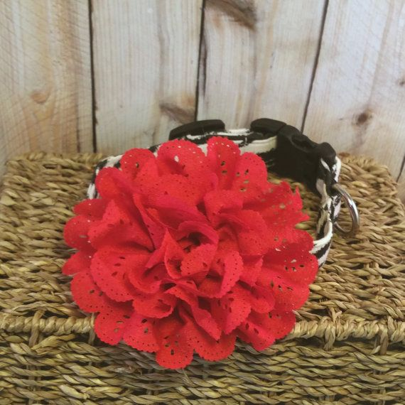 Dog Collar Flower // Red Eyelet Lace // Red by LuckyDogAccess