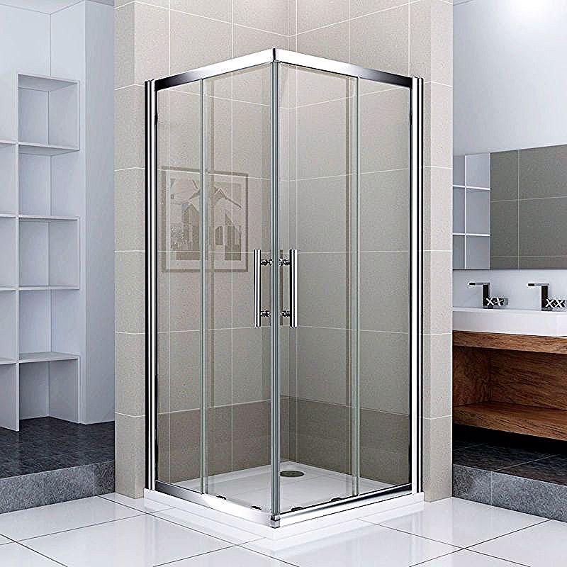 Porte De Douche 100x90x187cm Porte Coulissante Cabine De Douche Acces D Angle Verre Securit Aica Sanitaire Shower Enclosure Sliding Shower Door Shower Doors