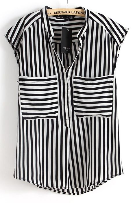 Black White Vertical Stripe Short Sleeve Chiffon Blouse ...
