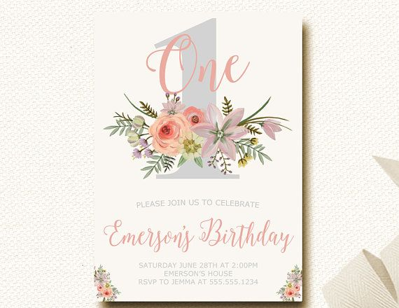 Floral Pink Gray First Birthday Invitations 1st Girls