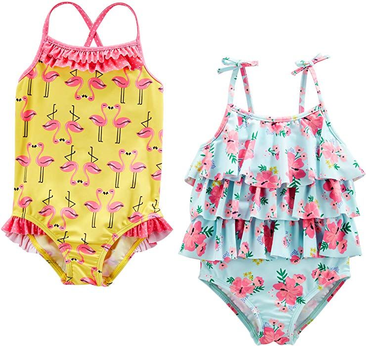 a218a0a42a0295 Amazon.com: Simple Joys by Carter's Baby Girls' Toddler 2-Pack One-Piece  Swimsuits, Yellow Flamingo/Blue Floral, 5T: Clothing