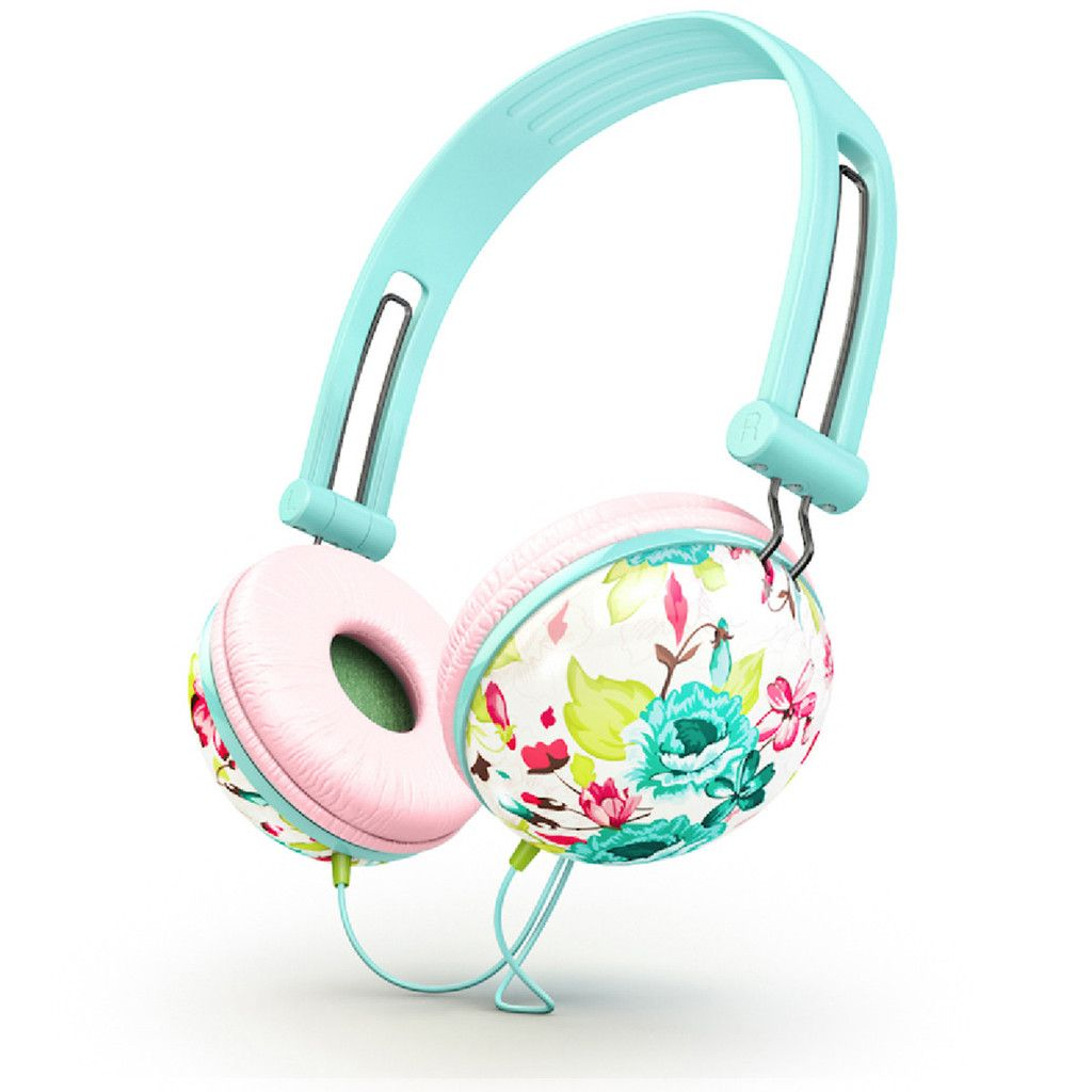 Ankit Pastel teal floral Fat Bass Headphones | Ankit ...