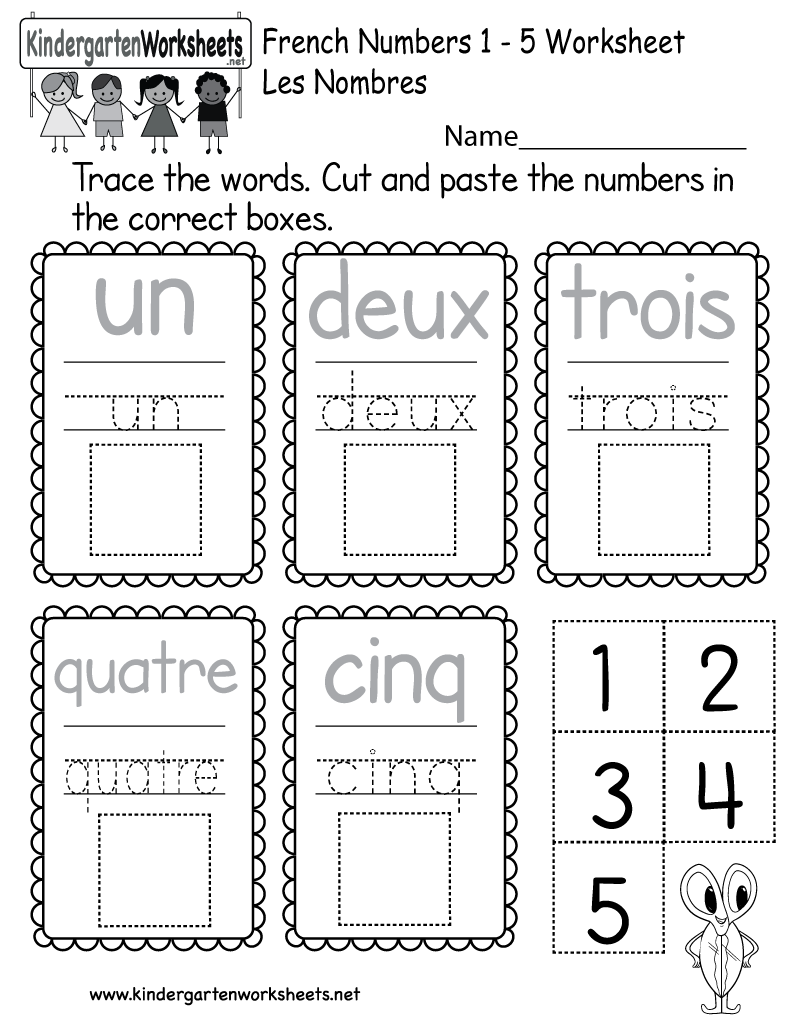 Kindergarten French Numbers Worksheet Printable   French ...