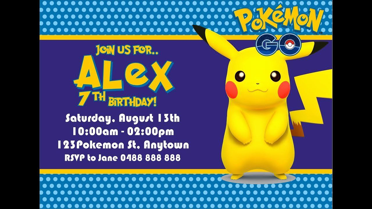 Pokemon Invitation Template Free Beautiful How To Make Pokemon Go Birthday Invitation In Pokemon Birthday Party Birthday Invitation Templates Pokemon Birthday