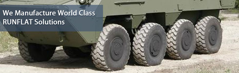RUNFLAT Tire Systems provide the vehicle capability to continue journey for extended distance while experiencing one or more deflated or damaged tires hit by Amour Piercing Rounds or a tire blast.