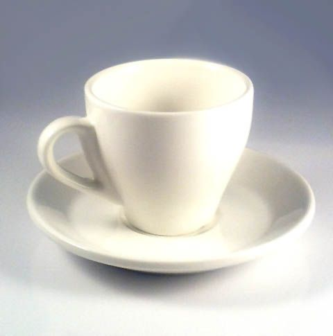 A 70ml Clic Tulip Shaped Italian Espresso Cup And Saucer Made Of White Ceramic Finished In Modern Minimalist Style