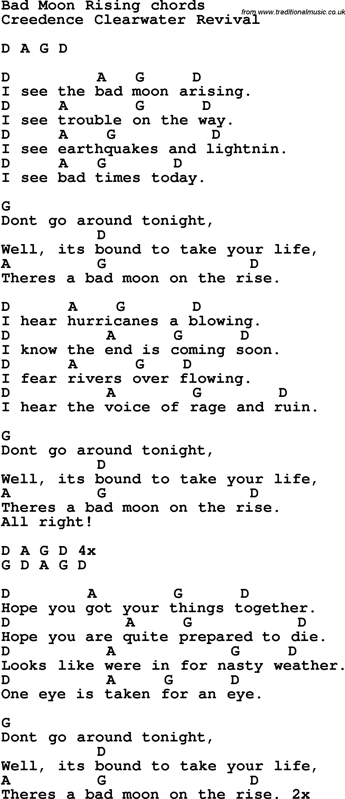 Song Lyrics With Guitar Chords For Bad Moon Rising Music