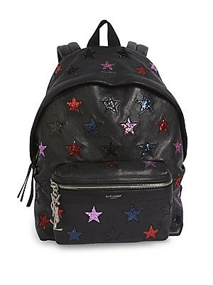 0648adc42 Saint Laurent Mini Glitter Star Leather Backpack - Black-   Products ...