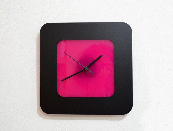 Square Modern Black & Fuchsia  Wall Clock di ObjectIndustrialArt, $25.50
