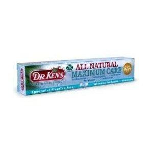 Dr. Ken's All Natural Maximum Care Spearmint Fluoride Free Toothpaste, 5.2 OZ by Dr. Ken's. $5.02. 6 oz toothpaste. Please read all label information on delivery.. Country of origin: USA. Front label panel: Dr. Kens's THE NATURAL CHOICE MAXIMUM CARE Antibacterial Antiplaque Antigingivitis Antioxidant Anti-tartar Spearmint Flouride Free Gel Whitening Toothpaste Net Wt. 6.0 oz (170g) Maximum Care Dentist Recommended Instructions: Directions: - Adults and children 2 years o...