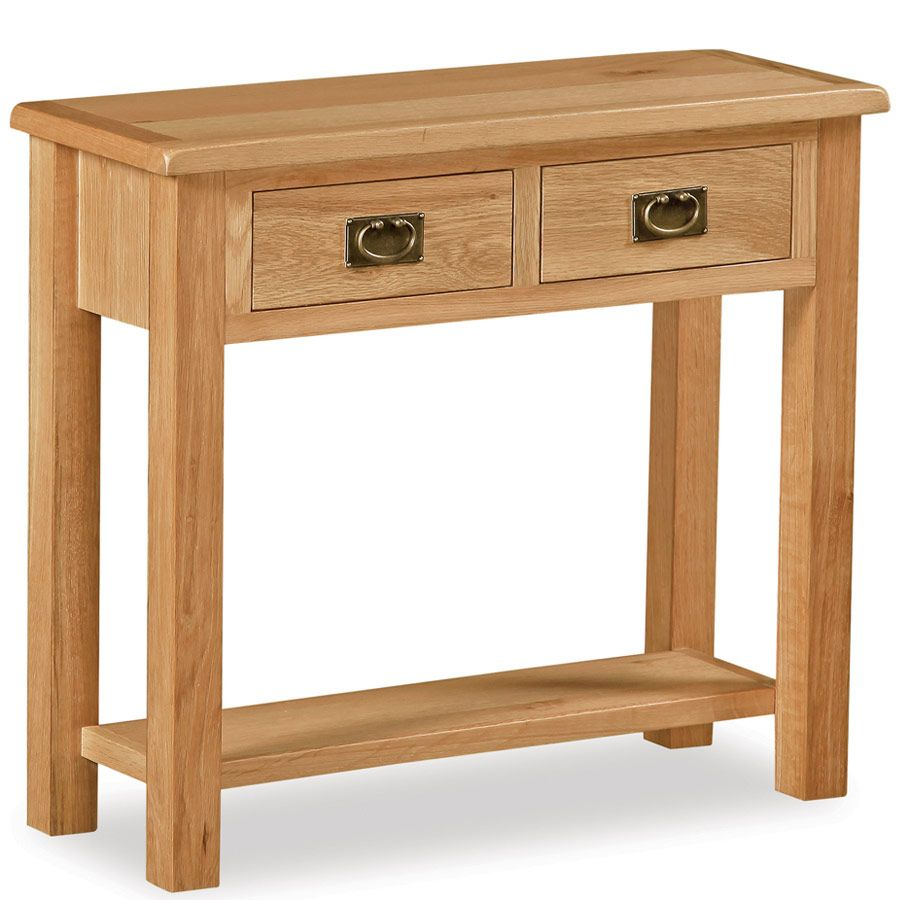 Belmont Rustic Oak Console Table With Two Drawers Console Table Solid Oak Furniture Furniture