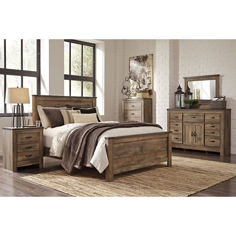 Contemporary Rustic Oak 4 Piece King Bedroom Set Trinell