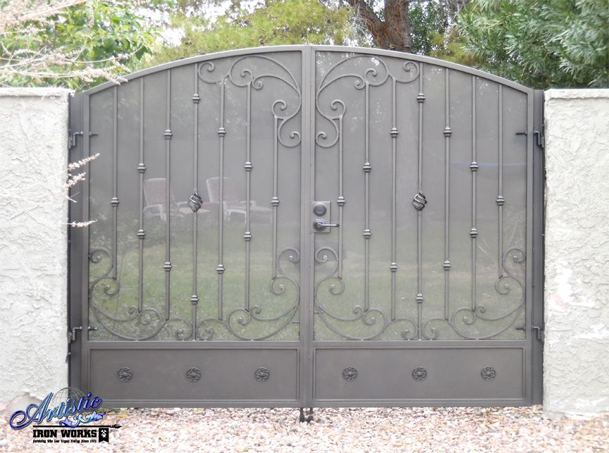 Arched Wrought Iron Double Gate With Scrolls Knuckles