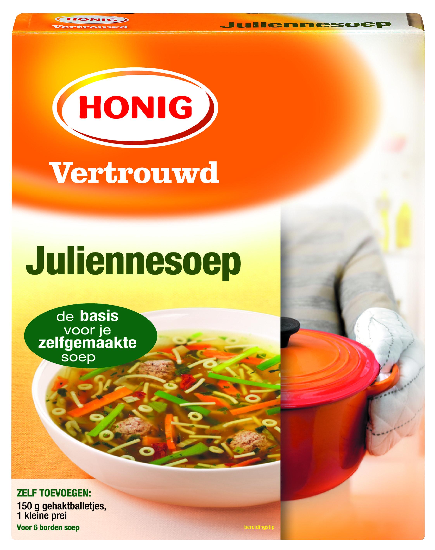 Honig Juliennesoep is een lichte, heldere groentesoep met vermicelli, fijngesneden groenten en fijne tuinkruiden.
