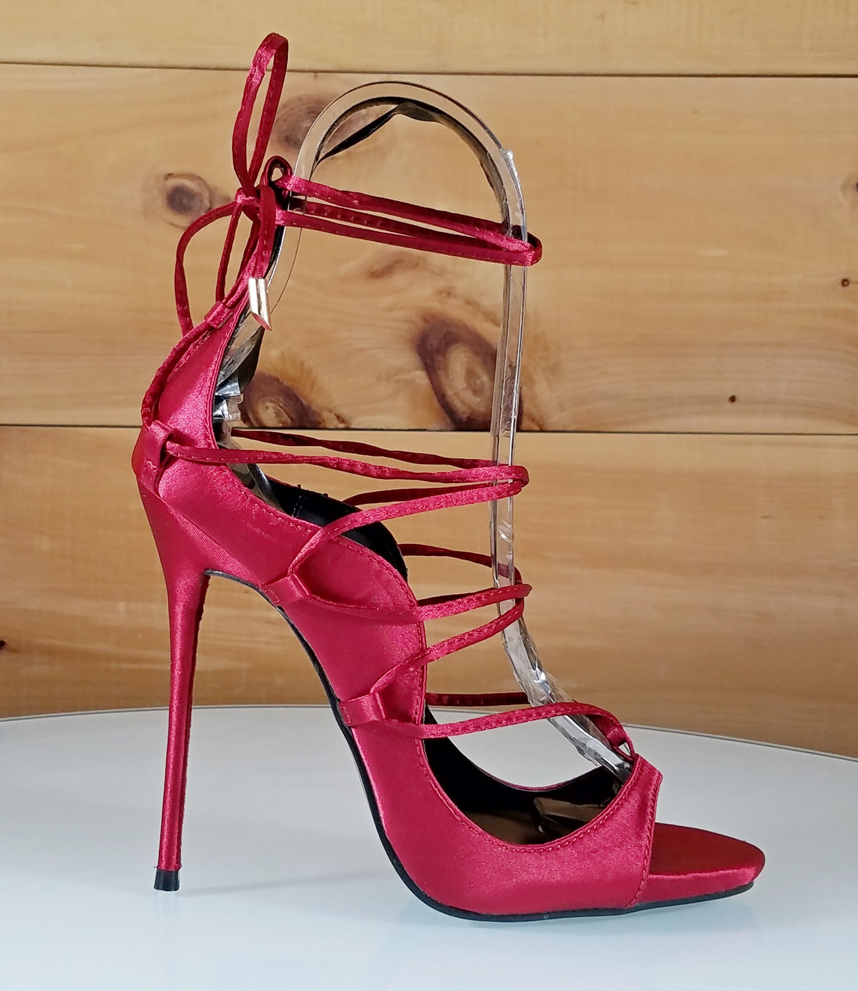 74f817eb06df3a Mista Red Satin Wrap Lace Up High Heel Shoe