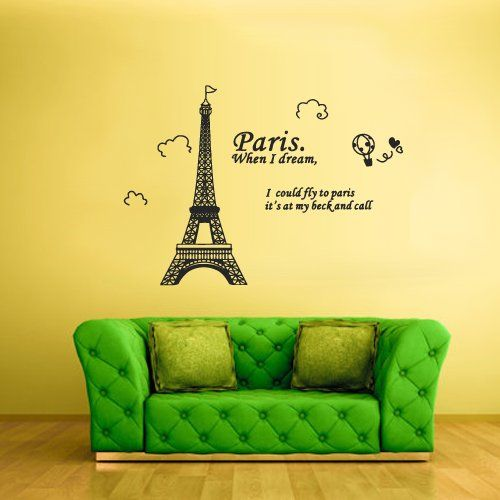 Wall Vinyl Sticker Decals Decor Art Design Mural Eiffel Tower Decal ...
