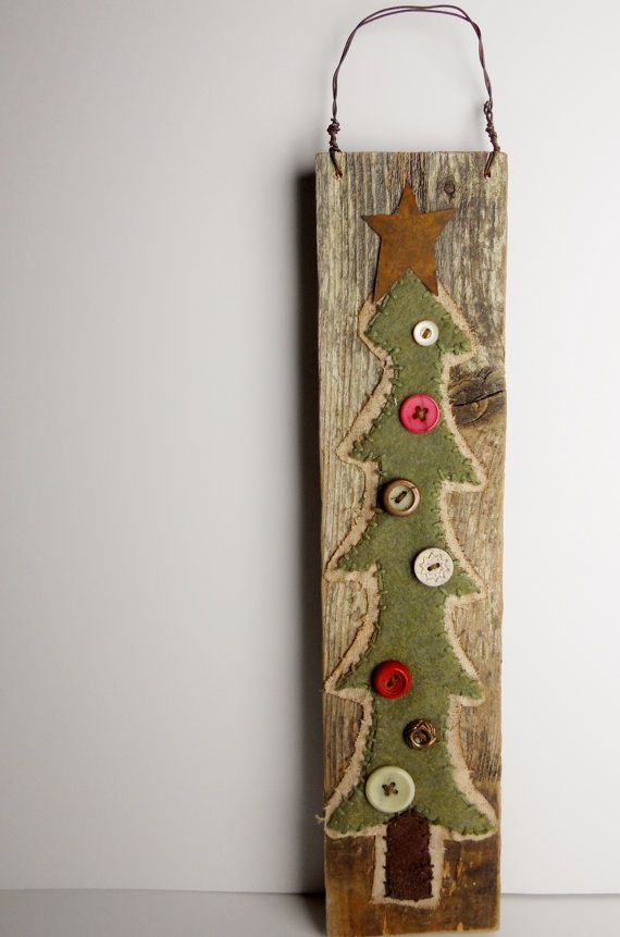 RESERVED for ARCELYN: Primitive CHRISTMAS Tree Buttons on Reclaimed ...