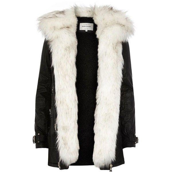 73f4c68c9 River Island Black faux fur trim parka jacket ( 230) ❤ liked on ...