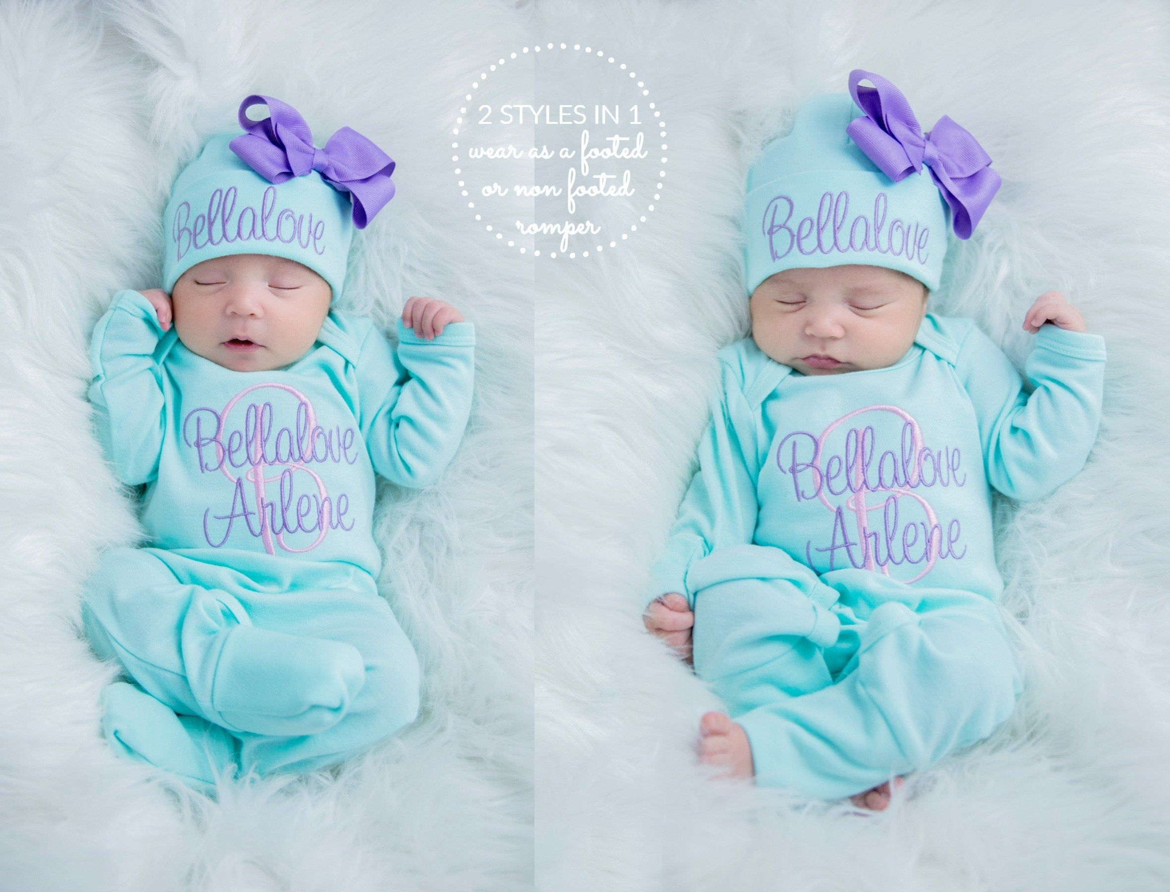 Newborn Girl Coming Home Outfit Newborn Girl Clothes Personalized Baby Girl Gift Personalized Baby Girl Outfit Baby Girl Sleeper