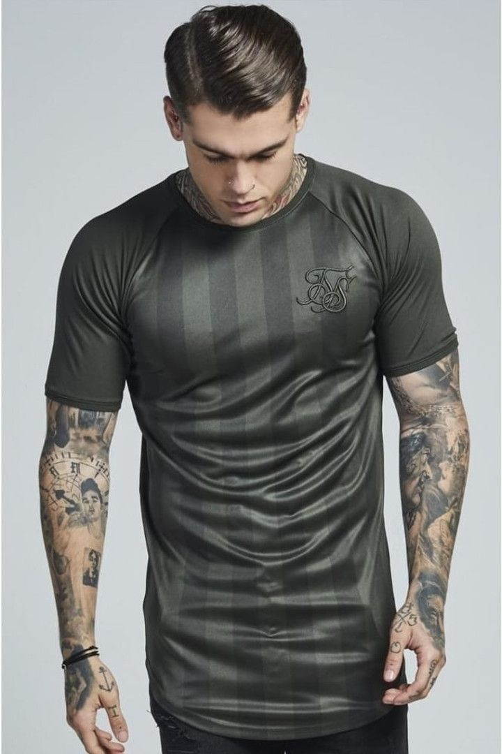 SIKSILK SHADOW STRIPE CURVED HEM TEE - Camiseta print - khaki 09Sx4GXT