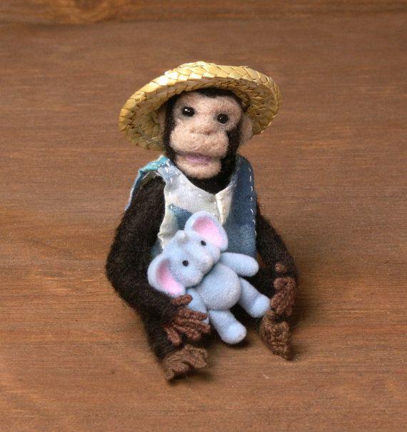 Charming Needle-Felted Miniature Chimpanzee by DinkyWorld on Etsy