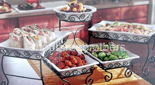 New 3 Tier Buffet Server 5 Stoneware Serving Dishes Wrought Iron Stand Catering Ebay Buffet Server Serving Dishes Buffet