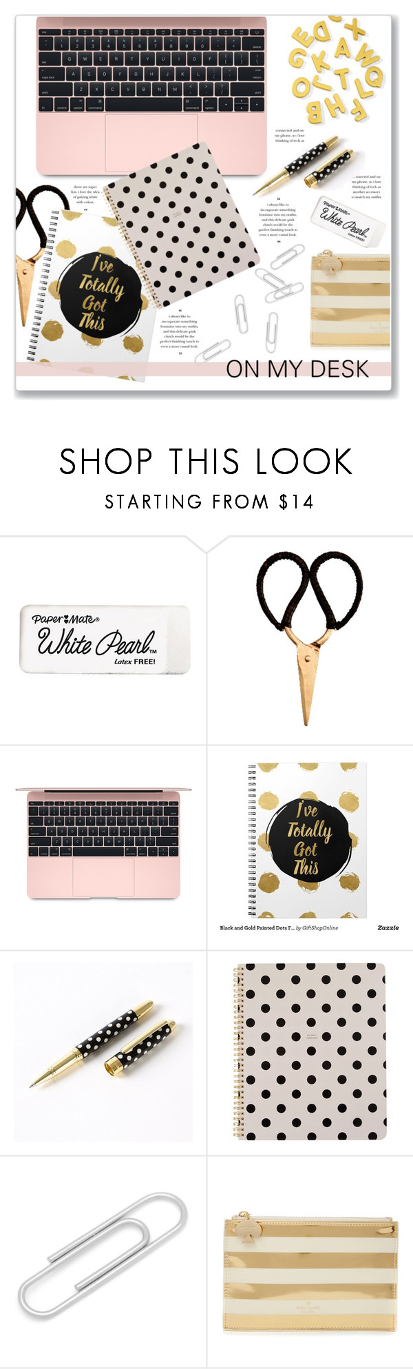 """""""What's on My Desk?"""" by kellylynne68 ❤ liked on Polyvore featuring interior, interiors, interior design, home, home decor, interior decorating, Kate Spade, Madam Stoltz, desk and onmydesk"""