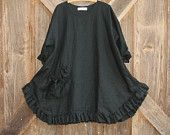 linen tunic dress money bag pocket in black ready to ship