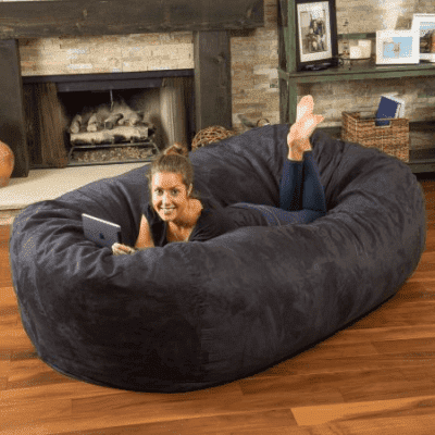 Noble House Logan Black Faux Suede 8 Foot Lounger Bean Bag Sofa