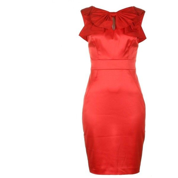 ted baker Womens Ziaz Bow Neck Red Shift Dress ($115) ❤ liked on ...