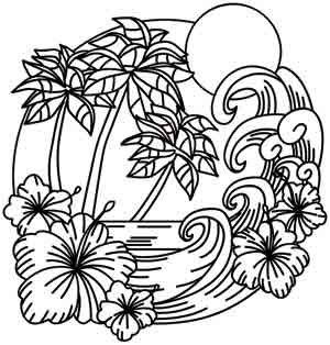 Palm Trees Tree Coloring Page Paper Embroidery Coloring Pages