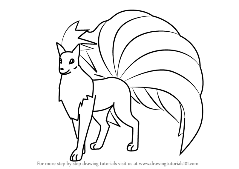 How To Draw Ninetales From Pokemon Go Drawingtutorials101 Com Horse Coloring Pages Tribal Pokemon Pokemon