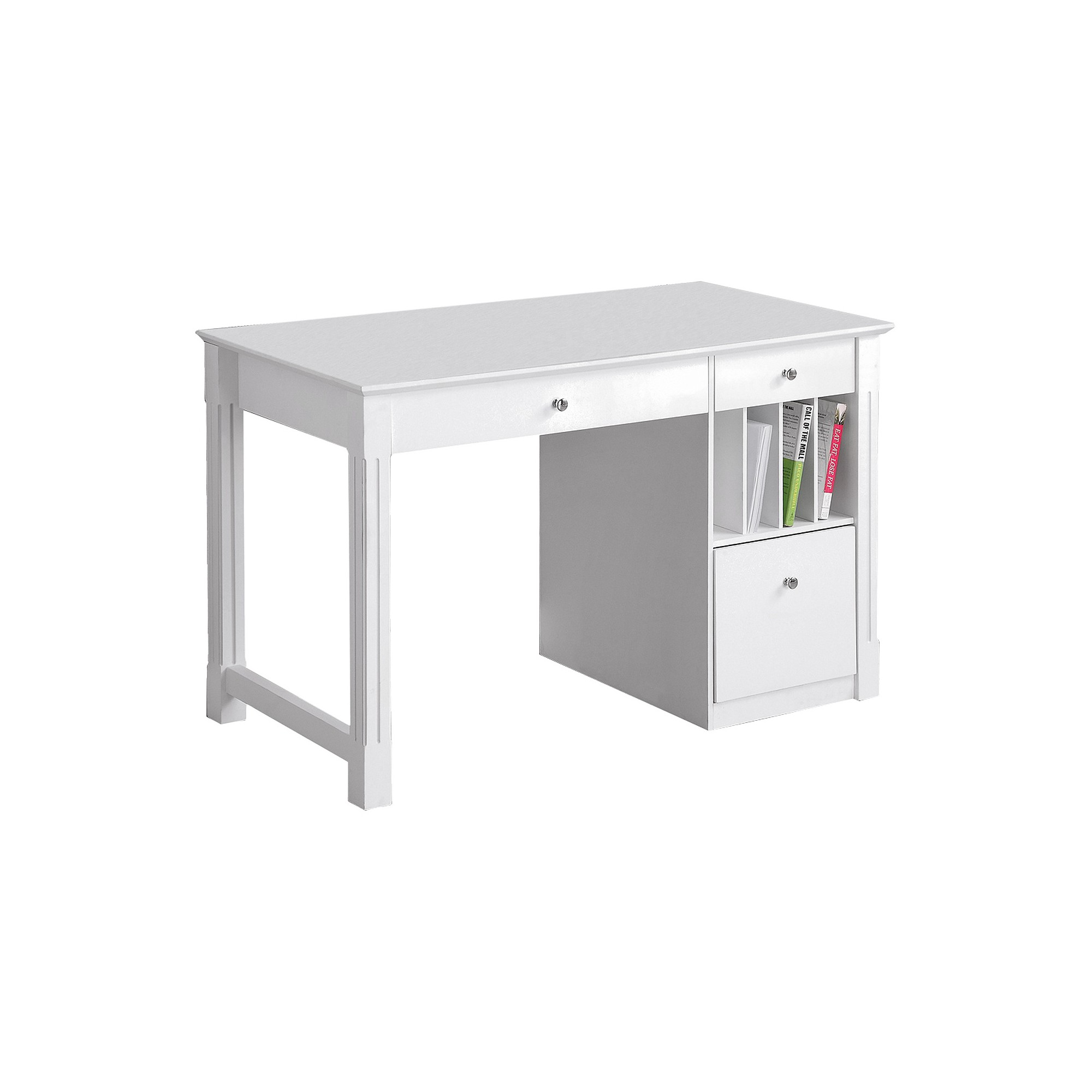 Home Office Deluxe Storage Computer Desk White Wood