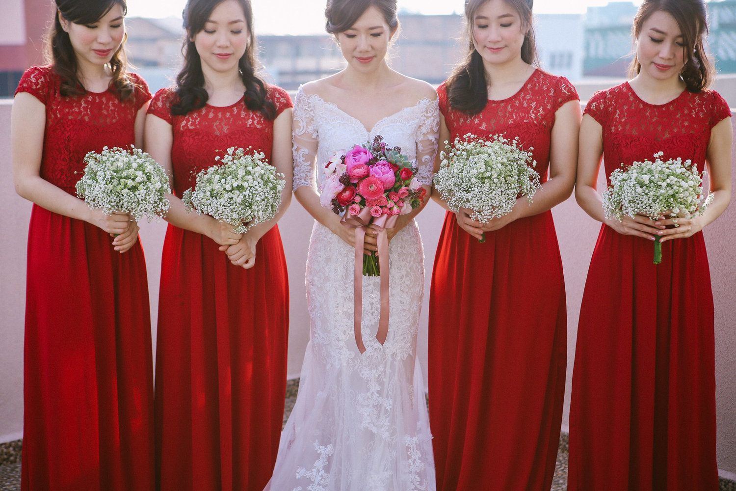 Bride and bridesmaids in red bridesmaids pinterest