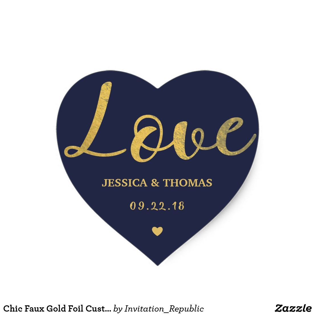 Chic faux gold foil custom wedding love template heart sticker