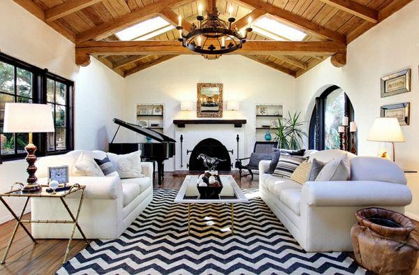 wohnzimmer ideen chevronmuster teppich blau weiß Furniture\ Home - wohnzimmer ideen weiss