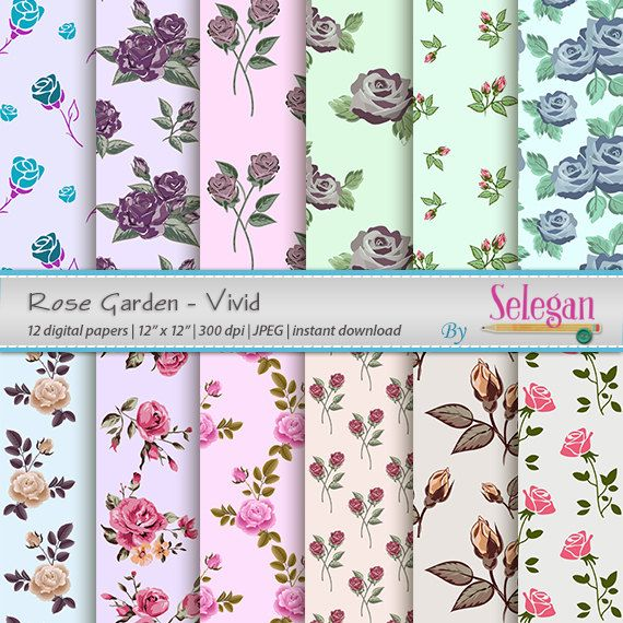 Rose Garden-Vivid, Flower, Blossom, Floral, Rose, Digital Paper, Scrapbooking, Paper, 12x12, Printable, Pattern,  Background, Download by Selegan on Etsy