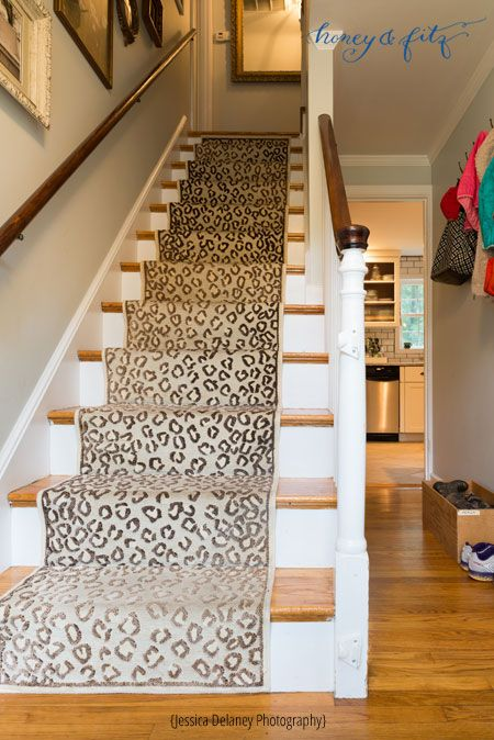 Fake A High End Stair Runner Using Overstock Runners Stair   Cheap Carpet Runners For Stairs   Wooden Stairs   Stair Railing   Hallway Carpet   Staircase Remodel   Painted Stairs