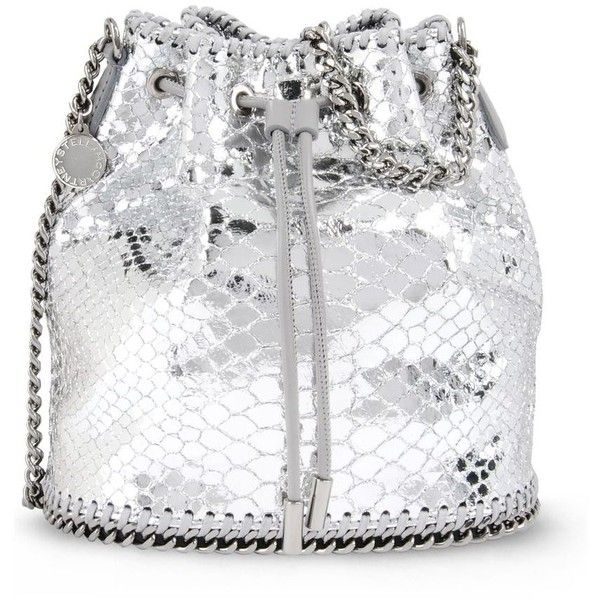 727328f59a5a Stella McCartney Silver Falabella Metallic Alter Snake Bucket Bag (16 845  UAH) ❤ liked on Polyvore featuring bags