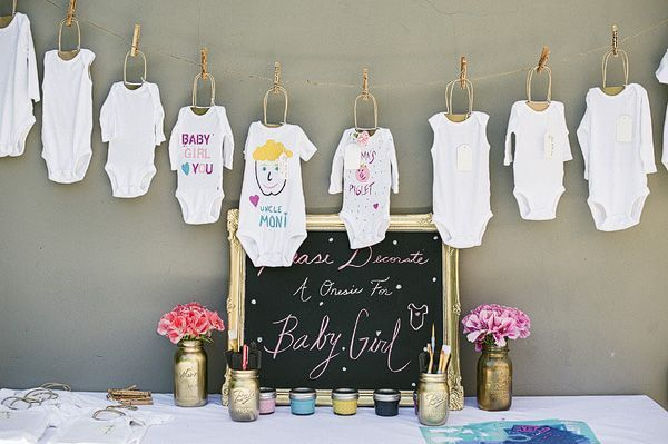 baby shower onesie decorating ideas  onesie decorating station at, Baby shower invitation