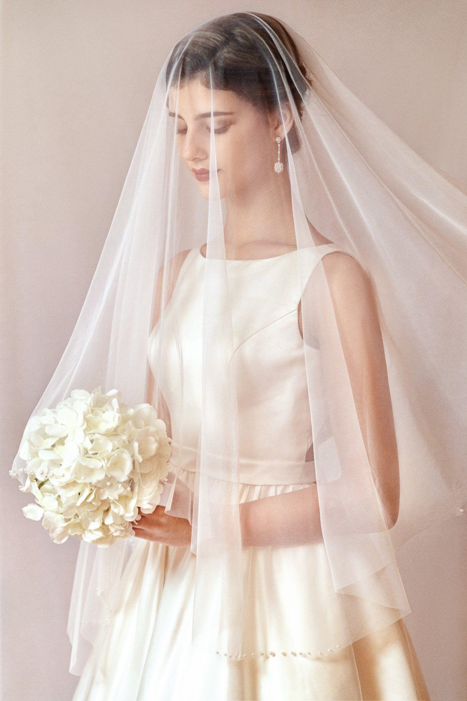 wedding veil with crystals Blusher Veil Chapel length