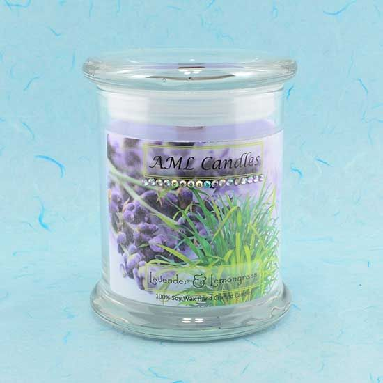 Lavender and Lemongrass Medium 12 fl oz Status Jar Candle. These natural soy wax container candle are calming and uplifting. The scent of the lavender is a classically sweet and flowery smell, whilst the lemongrass is a perfect air freshener. - Anne Makes Lovely Candles